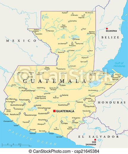 Karta Guatemala Politisk Karta Scaling Stad Nationell
