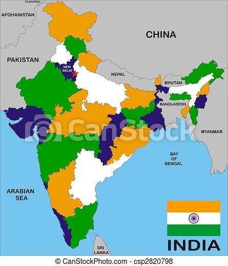 Karta Indien Pastar Karta Flagga Indien Grans