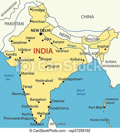 Karta Indien Vektor Republik