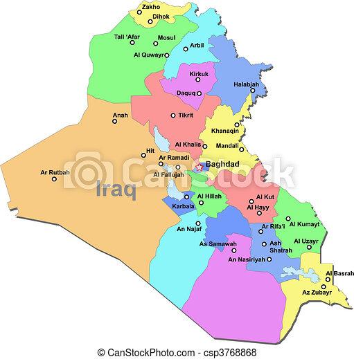 karta irak Karta, irak. Karta, färg, över, områden, vektor, vit, irak. karta irak