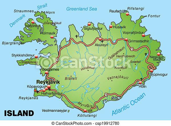 karta island Motorvägen, karta, island. karta island