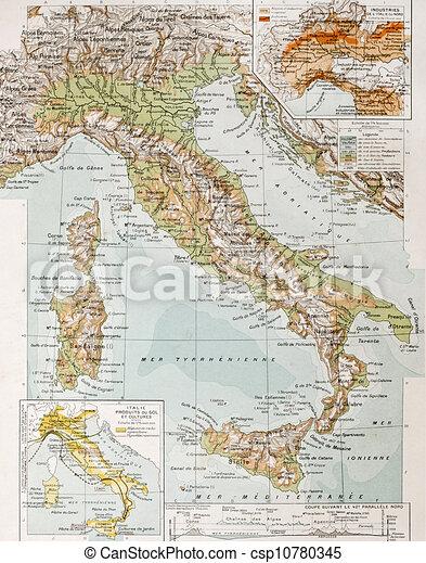 Gammal Karta Italien.Karta Italien Fysisk Karta Classique Vidal Gammal Italy