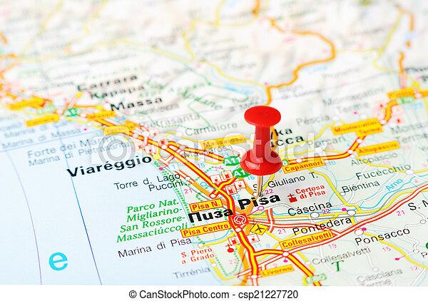 Karta Italien Pisa Karta Begrepp Italien Stift Resa