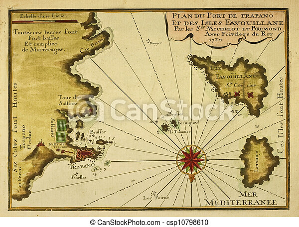 Karta Levanzo Gammal Favignana Trapani Karta Avsluta 1730