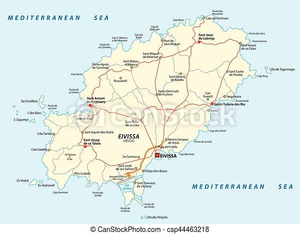 Karta Pa Spansk.Karta Medelhavet Eivissa Hav Spansk Vag Karta Medelhavet