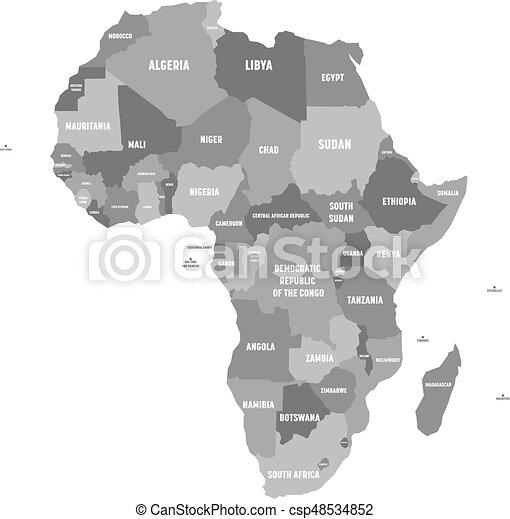 Karta Namn Politisk Etiketter Afrika Gra Illustration Fyra
