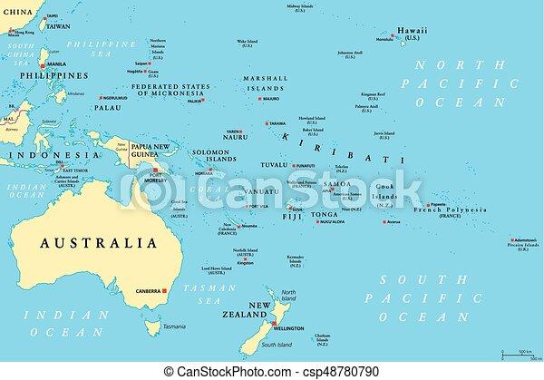 oceanien karta Karta, oceanien, politisk. Oceanien, mellerst, illustration  oceanien karta