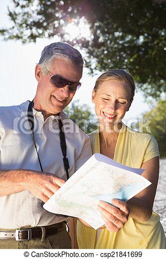 karta, par, lycklig, senior, användande - csp21841699