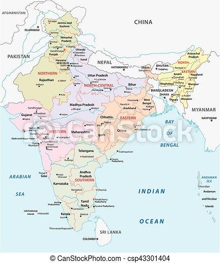 Karta Politisk Indien Zonplanerar Vektor Administrativ