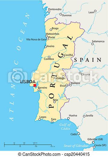 Karta Politisk Portugal Karta Scaling Portugal Nationell