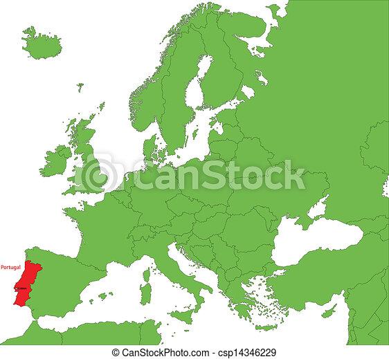 Karta Europa Portugal.Karta Portugal Europa Lokalisering Portugal Kontinent