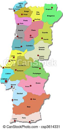 Karta Portugal Karta Over Vit Portugal