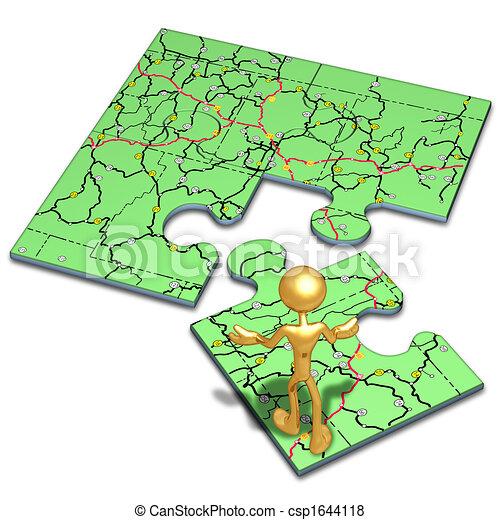 karta, problem, begrepp, väg - csp1644118