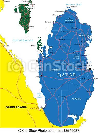 Detaljerad Karta Qatar Omraden Hogt Vektor Stader
