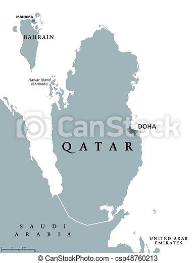 Karta Qatar Politisk Nordostlig Enastaende Labeling Qatar