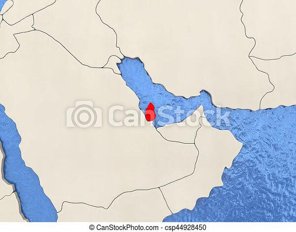 Vattnig Karta Qatar Politisk Illustration Oceans Rod 3