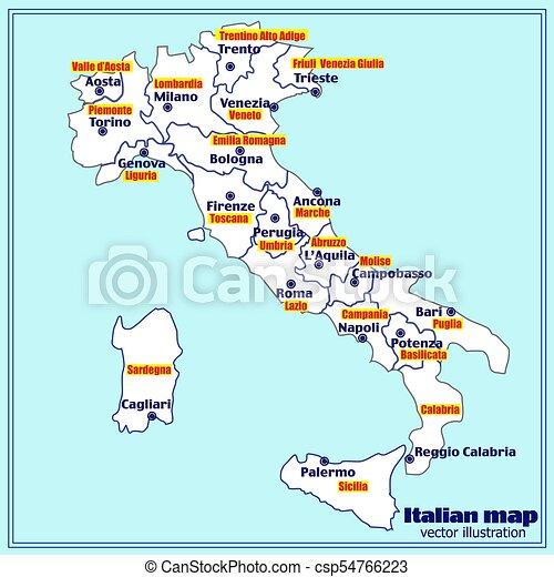 Karta Regions Italien Vector Italiensk Bla Karta Major