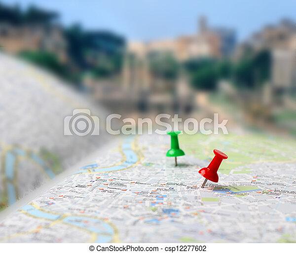 karta, res bestämmelseort, trycka, fläck, nålen - csp12277602
