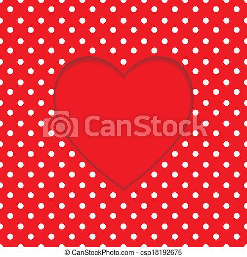 karta, serce, polka-kropka, forma., tło - csp18192675