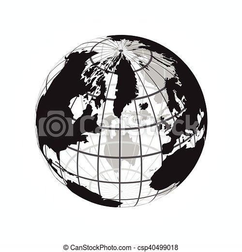 Karta Skissera Longitud Latitud Varld Omkring