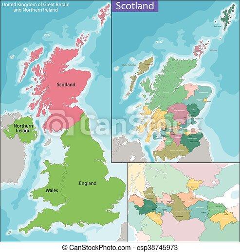 Karta Skottland Kungarike Ivrig Enigt Tredje Nordlig Land