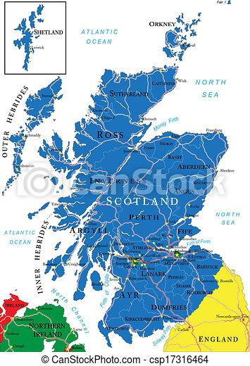 Karta Skottland Detaljerad Karta Huvudsaklig Omraden