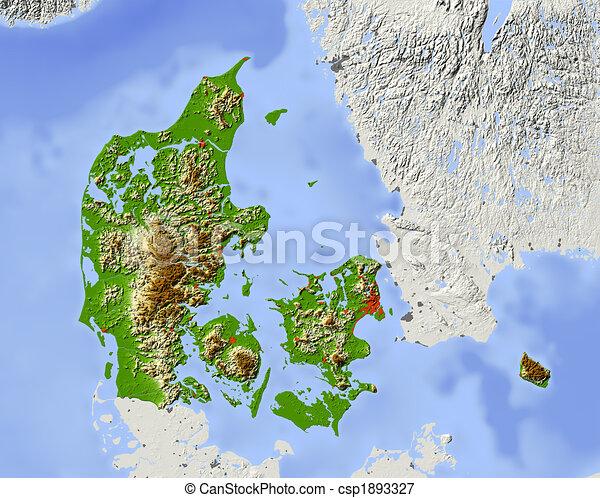 Karta Skuggat Lattnad Danmark Area Elevation Fargad