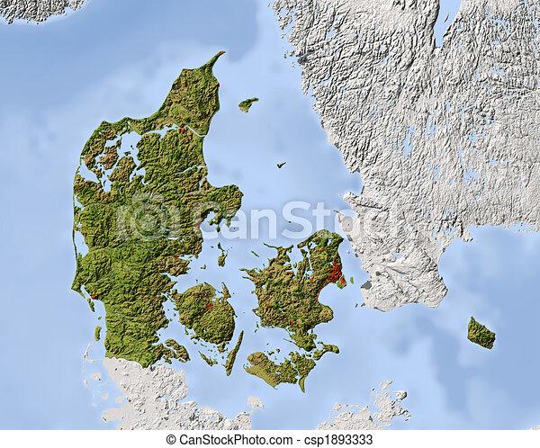 Karta Skuggat Lattnad Danmark Area Skuggat Fargad Klippa