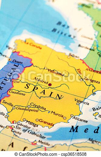 Karta Spanien Granada.Atlas Karta Spanien Varld