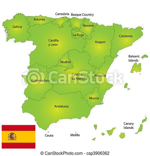 Karta Pa Spansk.Karta Spanien Detaljerad Karta Provincies Spanien