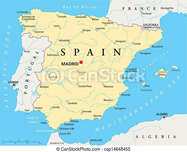 Karta Spanien Granada.Karta Spanien Karta Kanter Medborgare Lakes Rivers Mest