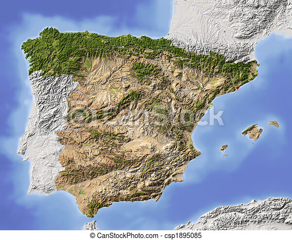 Karta Italien Spanien.Karta Spanien Lattnad Skuggat Area Skuggat Fargad Klippa