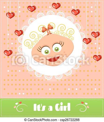 karta, sprytny, romantyk, kędzierzawy, tekst, przelotny deszcz, uśmiechanie się, blond, projektować, retro, serca, wisząc, dziewczyna niemowlęcia, dziewczyna, jego, czerwony włos - csp26722288