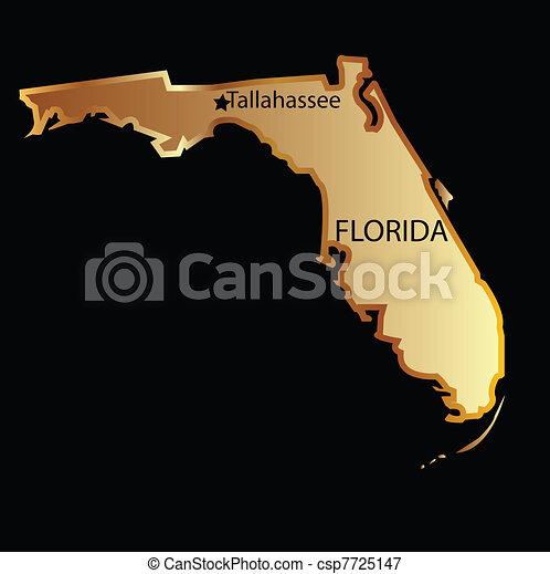 karta, tillstånd, florida, guld - csp7725147
