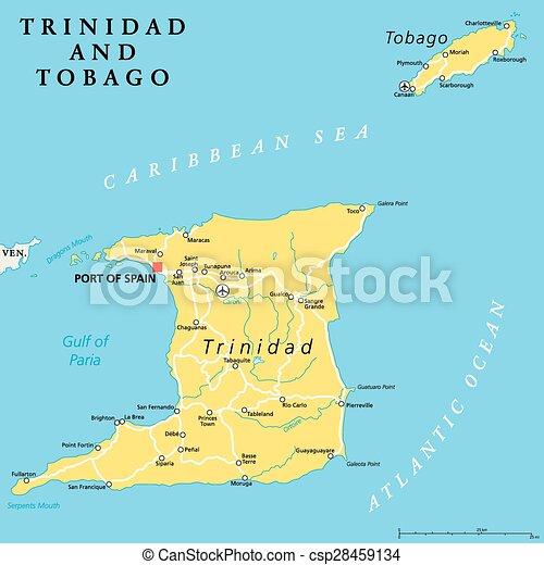 Karta Tobago Politisk Trinidad Karta Scaling Illustration