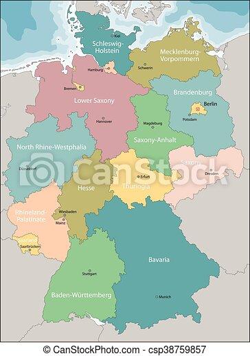 Karta Tyskland Omraden Karta Stader Tyskland Huvudsaklig