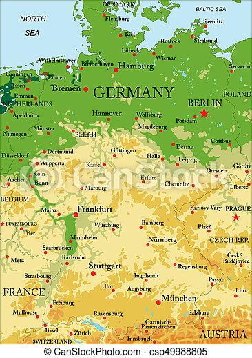 Karta Tyskland Fysisk Detaljerad Karta Alla Stor Hogt