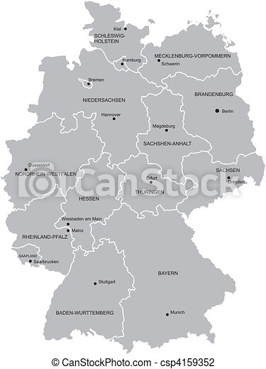 Karta Tyskland Landskap Karta Landsorten Stader Provinces