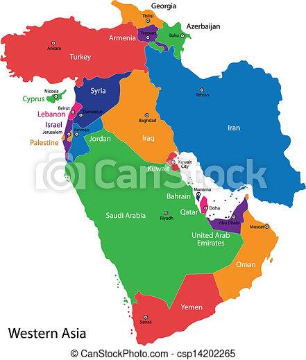 västra asien karta Karta, västlig asien. Karta, länder, färg, delad, asien, västra. västra asien karta