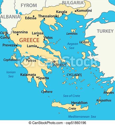Karta Vektor Illustration Grekland