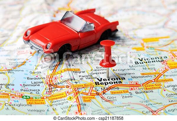 Karta Nord Italien.Karta Verona Italien Bil Karta Begrepp Italien Stift Verona