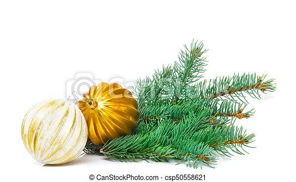 karte, baum, freigestellt, gruß, dekoration, kugeln, weihnachten - csp50558621
