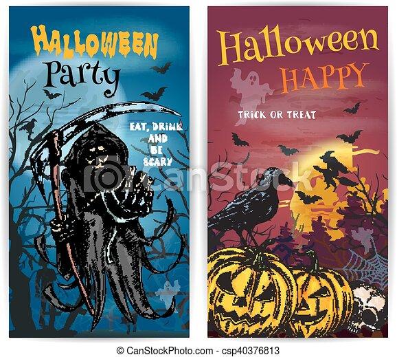 karte, halloween, design, einladung, parteibanner