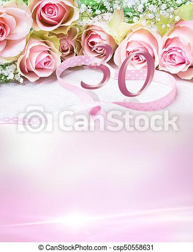 karte, rosen, 30, zahl, geburstag - csp50558631