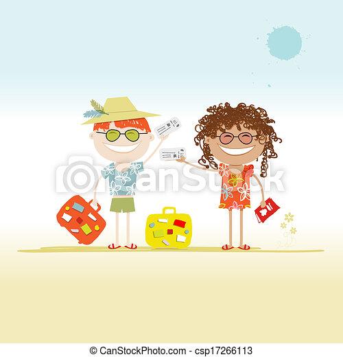Fröhliche Touristen mit Tickets und Koffern für Ihr Design - csp17266113