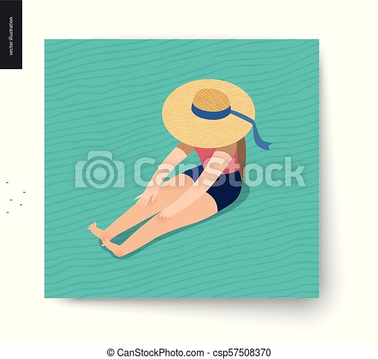 kartka pocztowa, lato, wizerunek, piknik - csp57508370