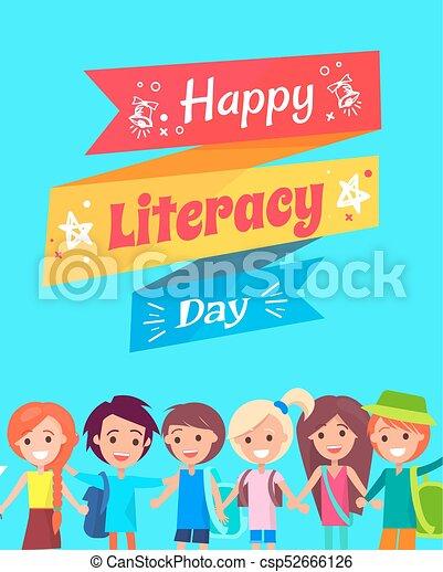 kartka pocztowa, szczęśliwy, gratulacje, dzień, umiejętność czytania i pisania - csp52666126