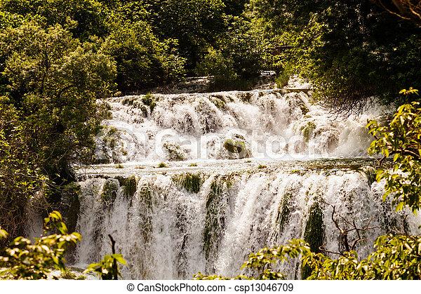 kaskade, nationalpark, wald, krka, kroatien, wasserfälle - csp13046709