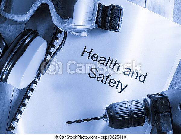 Gesundheits- und Sicherheitsregister mit Schutzbrillen, Bohrern und Ohrhörern - csp10825410