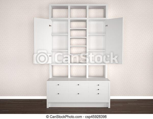 Kast, illustratie, doors., slaapkamer, witte , open, 3d stock ...